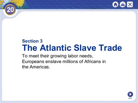the atlantic slave trade chapter 20 section 3 chapter 20 ppt