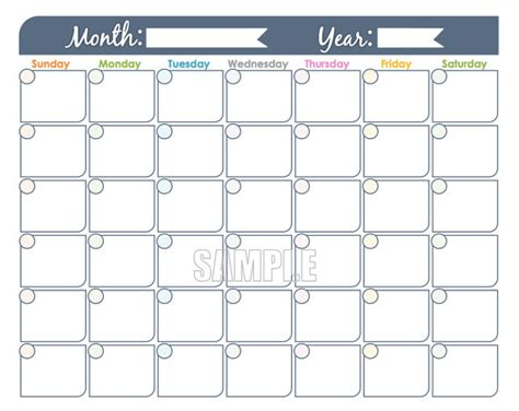 blank calendar template without dates free printable and editable monthly calendar templates