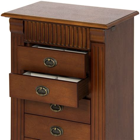 wood jewelry armoire best choice products wood jewelry armoire cabinet chest