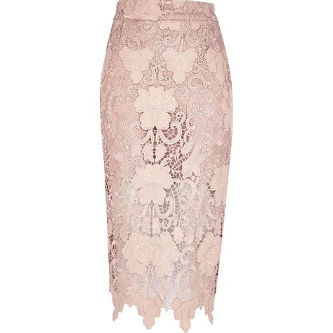 river island pink lace pencil skirt in pink lyst