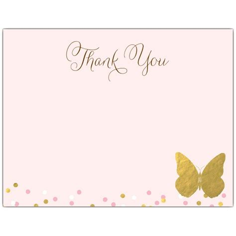 butterfly thank you card template gold butterfly baby shower thank you note cards paperstyle