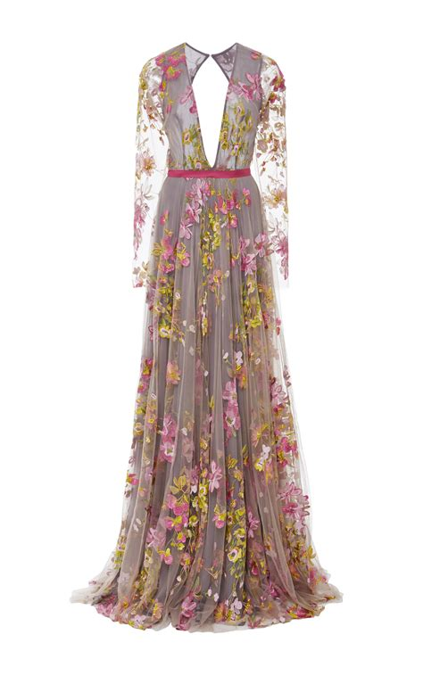 Embroidered Sleeve Dress naeem khan floral embroidered sleeve gown lyst