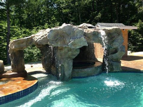backyard grotto design with waterfall and www