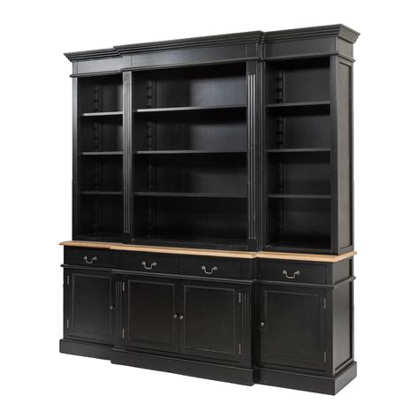 htons style black buffet and hutch sideboard bookcase