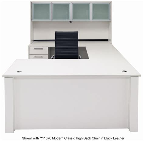 Adjustable Office Desk Adjustable Height U Shaped Executive Office Desk W Hutch In White