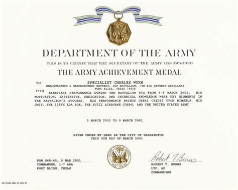 Army Achievement Medal Certificate Template army achievement medal certificate template