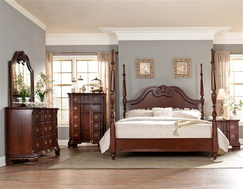 poster bedroom set homelegance guilford tall poster bedroom set brown cherry b2155 1tp bed set