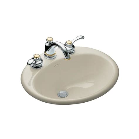 kohler farmington bathroom sink shop kohler farmington sandbar cast iron drop in oval