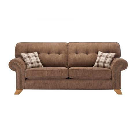 high back sofas uk montana 3 seater high back sofa in brown tartan cushions
