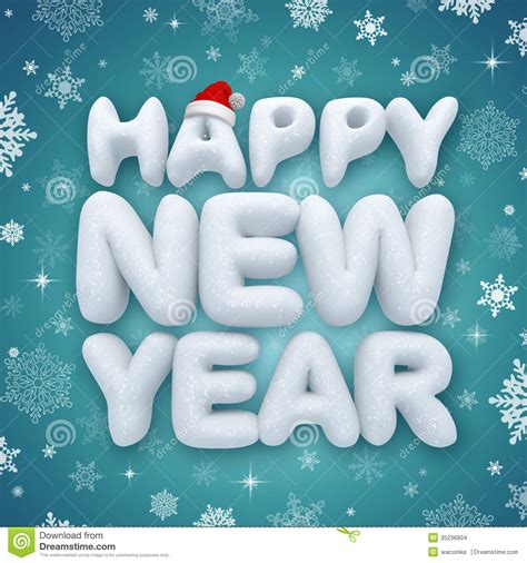 happy new year greeting text 3d snow stock images image