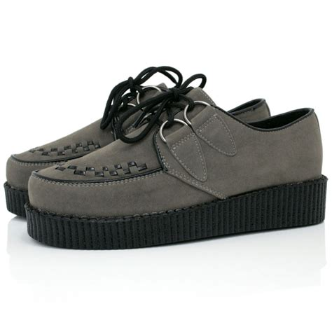 grey suede style creeper shoes buy grey suede style