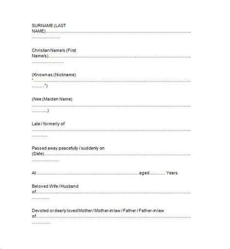 funeral notice template notice templates 104 free word pdf format