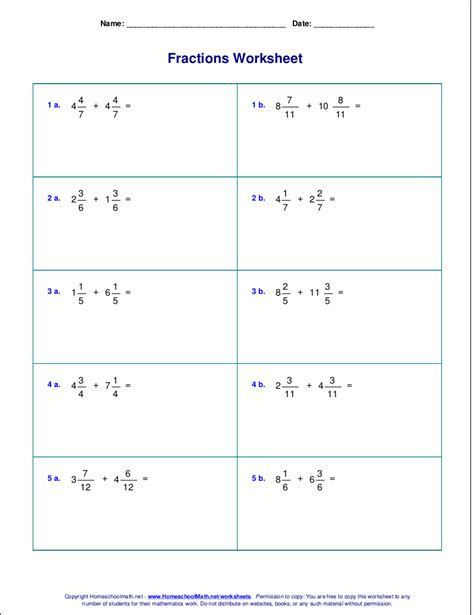 Adding Fractions With Like Denominators Worksheets Pdf