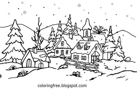 coloring pages christmas village village scene coloring pages