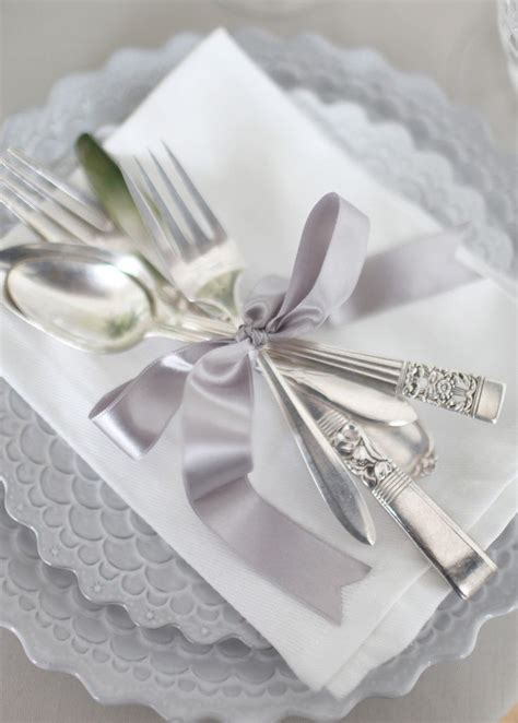 silver place settings wedding place setting ideas silver wedding cutlery wraps