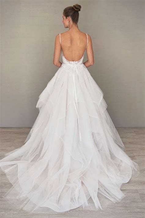 Lowback Ribbon Dress ivory tulle and lace bridal gown with a