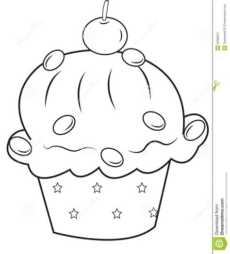 Cupcake Coloring Page Stock Illustration Illustration Of