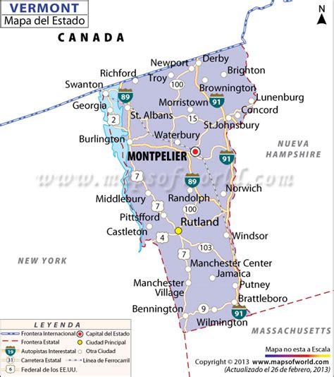 map of vermont and new york el mapa estado de vermont estados unidos de america