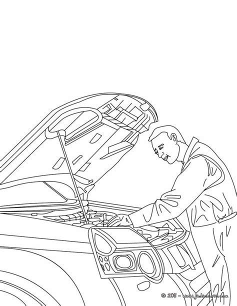 Coloriage Mécanicien voiture dessin gratuit à imprimer