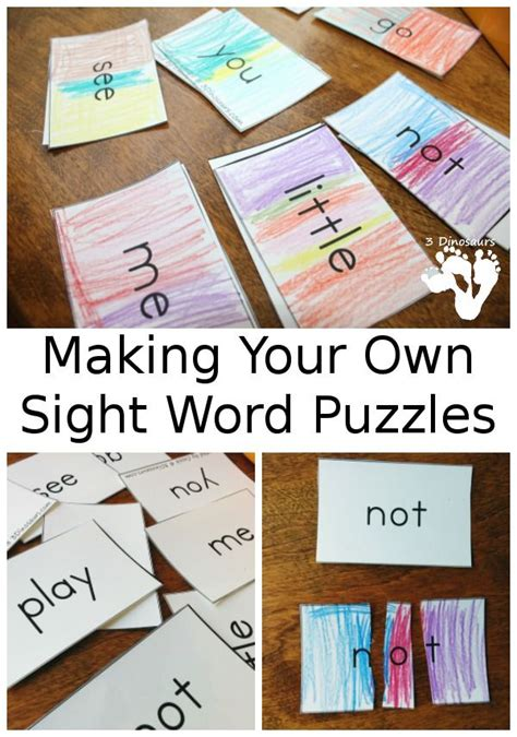 make your own vocabulary flash cards your own sight word puzzles on activity for