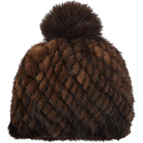 brown fur pattern barneys new york mink knit beanie in brown lyst