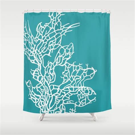 coral and teal shower curtain coral reef 8 shower curtain by monika strigel society6