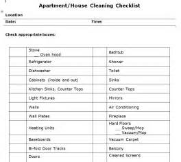 Cleaning Template Word by Apartment Cleaning Checklist Template Free Microsoft