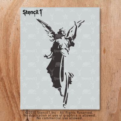 Paint By Numbers Wall Mural angel stencil 8 5 x11 stencil1