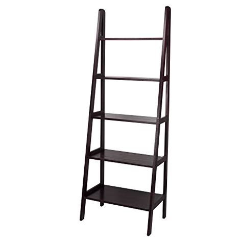 Espresso Solid Wood Contemporary Simple Leaning 5 Shelf Shelf Ladder Bookcase