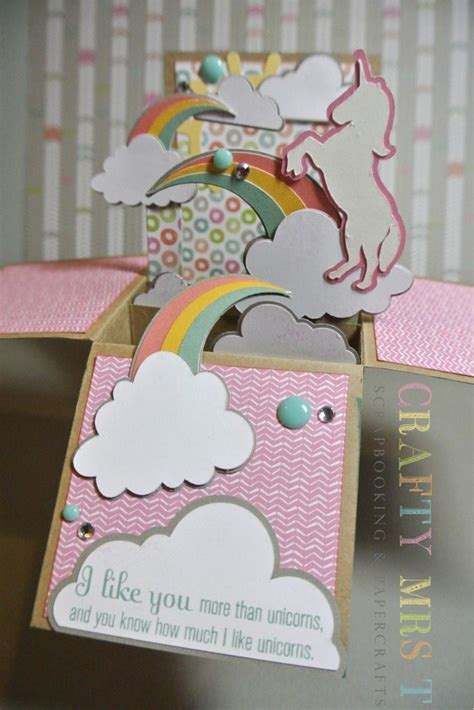 unicorn pop up card template unicorn dreams pop up box card to my cards