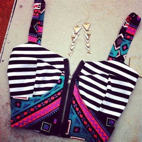 tumblr t shirt pattern shirt zip bustier jewels big pattern tank top