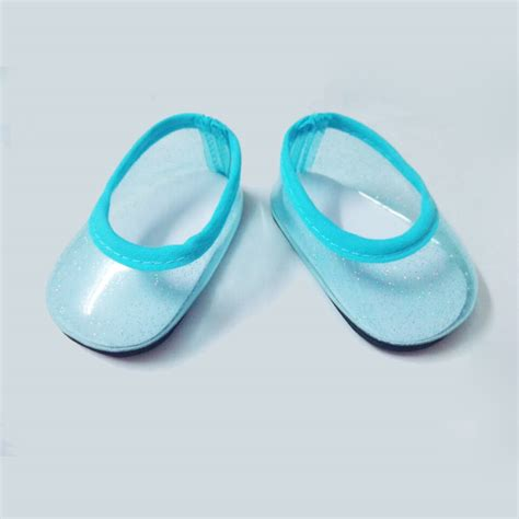 american doll slippers fits 18 quot american doll shoes blue clear glitter flats