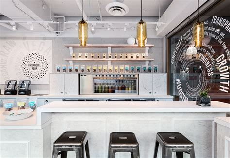 Floor And Decor Locations glass pendant lighting entices customers into modern juice bar
