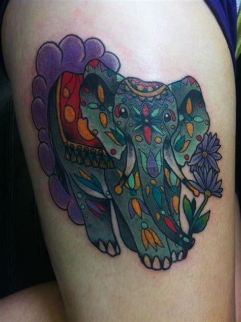 elephant tattoo purple colorful elephant tattoo designs