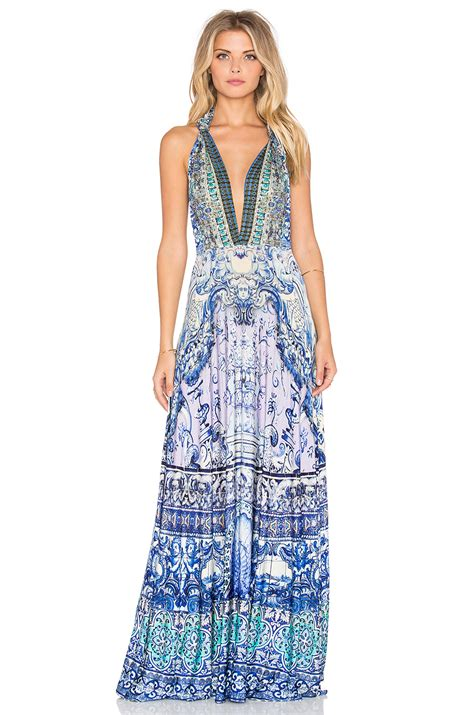 camilla concubine realm sheer overlay dress in blue lyst