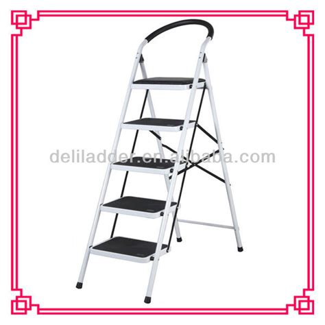 fold up step ladder folding step stool foldable heavy duty 5 steel wide step