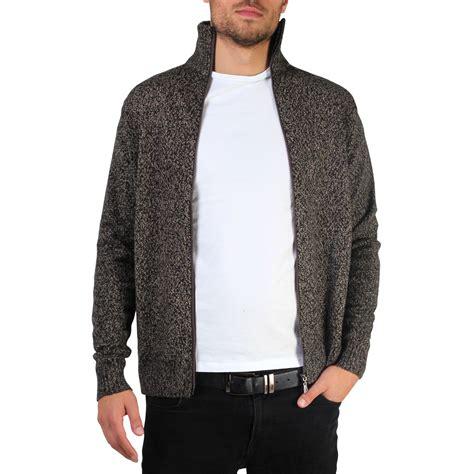 Sweater Hoodie Jumperzipper Georsia mens soft woollen knit zip up funnel neck grandad cardigan jumper sweater top ebay