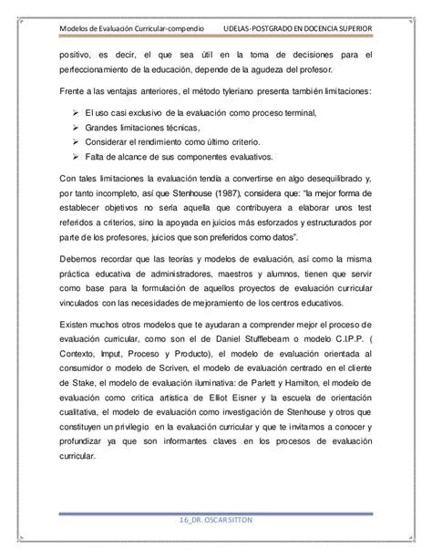 Modelo Curricular Tyleriano Modelos De Evaluaci 243 N Curricular Compendio