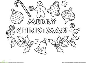 merry christmas coloring page worksheet educationcom