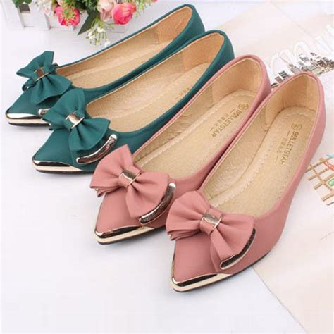 Pointed Ballerina Flats With Metal Shoes womens metal pointed toe bow tie flat ballerina ballet