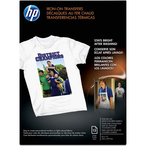 inkjet iron on transfer paper hp iron on transfer paper 8 5x11 quot 12 sheets c6049a b h