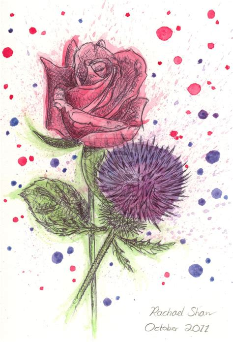rose and thistle tattoo designs http thepotatostabber deviantart a and