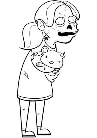 zombie girl  teddy bear coloring page  printable