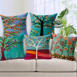 Painted Cushion Cover Designs Painted Flower Tree Print Cushion Covers For Sofa