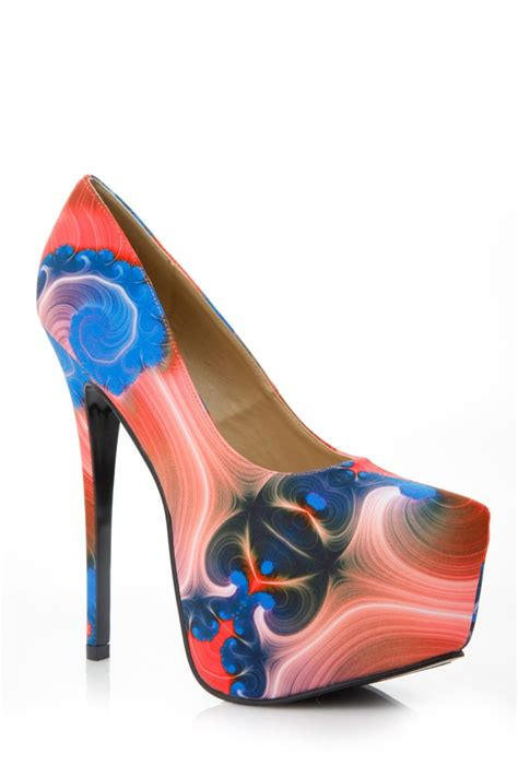 bright patterned heels alba bright abstract print pumps cicihot heel shoes