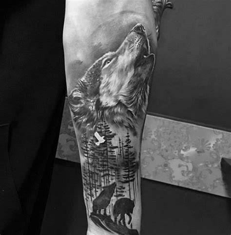 1 4 sleeve tattoo ideas shaded howling wolf inner forearm designs