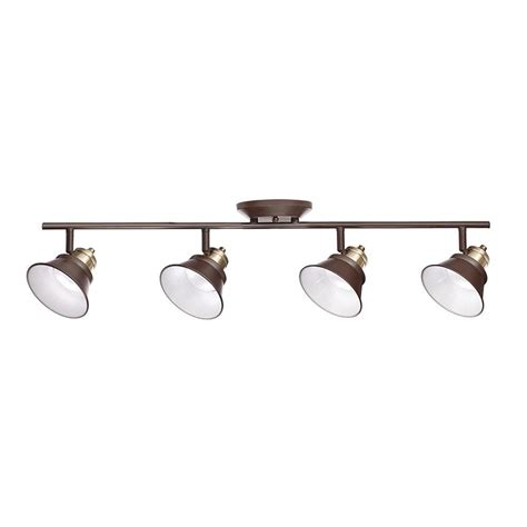 bronze led track lighting glasgow 31 in rubbed bronze and antique brass