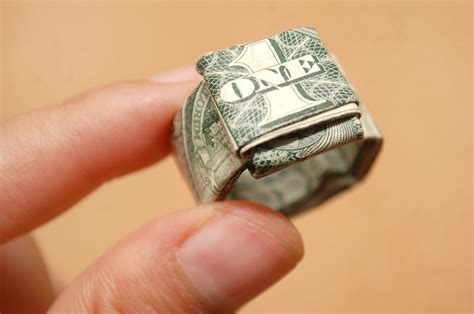 How To Make An Origami Dollar Ring - fold a dollar bill to make a finger ring