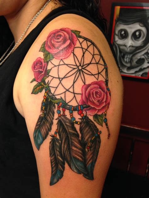 rose dreamcatcher tattoo shoulder tattoos page 10