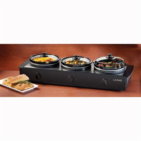 Nostalgia Tsc250blk 2 5 Quart Living Collection Triple Cooker Buffet